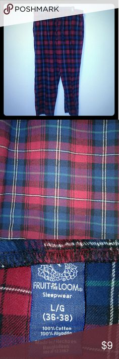 """Mens """"fruit of the Loom"""" flannel pajama pants L Red, blue, black, green, & white plaid flannel pajama. Sleepwear lounge pants bottoms, pre-owned, very good condition, elastic waist band with drawstring,, mens size 36/38 waist, inseam-29 inches, """" Fruit Of The Loom"""" brand name, button closure rise, with pockets at side hips, ( no back rear pockets), 100% cotton made in Bangladesh, RN #123187 original retail $14.98-(Kohl's) machine wash cold, inside out, non-chlorine bleach only if needed, low…"""
