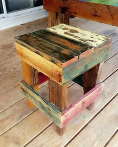Pallet Outdoor Furniture pallet rustic stool - There are unlimited ideas when it comes to furnishing home by reshaping the wood pallets into the furniture. A homeowner if knows the art of. Rustic Outdoor Furniture, Reclaimed Wood Furniture, Diy Pallet Furniture, Pool Furniture, Furniture Repair, Modern Furniture, Inexpensive Furniture, Country Furniture, Cheap Furniture