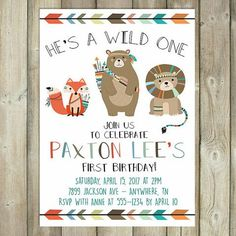 "He's wild and he's about to be one! Start your party off right with this trendy boho themed invitation; complete with adorable ""wild"" tribal animals."