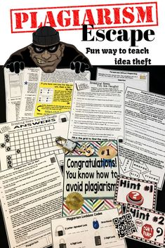 Plagiarism Escape is a great way to teach idea theft to your students. They solve a series of puzzles about plagiarism, and they learn a lot about plagiarism in the process. Teaching Writing, Teaching Strategies, Essay Writing, Teaching Tools, Teaching English, Teacher Resources, Writing Ideas, High School Classroom, English Classroom