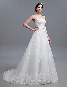 A-line Strapless Sweep/Brush Train Wedding Dress (Tulle) – USD $ 199.99