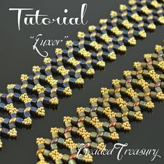 """""""Luxor"""" beading tutorial is for a simple but sublime beaded bracelet made with predominat metalic and gold colors. Superduo bead pattern by BeadedTreasury."""