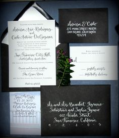 Calligraphy Wedding Invitation - Custom Design - Letterpress, Flat print, or Digital Files. $125.00, via Etsy.