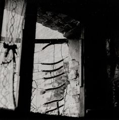 Otto Steinert - View outside window or ruin, Bedroom in provisional housing, ca. 1950