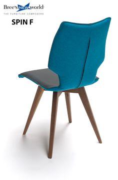 De eetkamerstoel Spin F in stof-leder-combinatie. Op notenhouten bokje. #diningchair #diningroom #diningroomideas #wooninspiratie #wonen #interieur #interior #modernfurniture #design