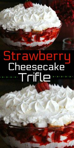 Stunning Strawberry Cheesecake Trifle recipes classic recipes easy recipes easy homemade recipes easy philadelphia recipes new york recipes no bake Mini Desserts, Layered Desserts, Strawberry Desserts, Köstliche Desserts, Delicious Desserts, Dessert Recipes, Strawberry Trifle, Easter Recipes, Recipes Dinner