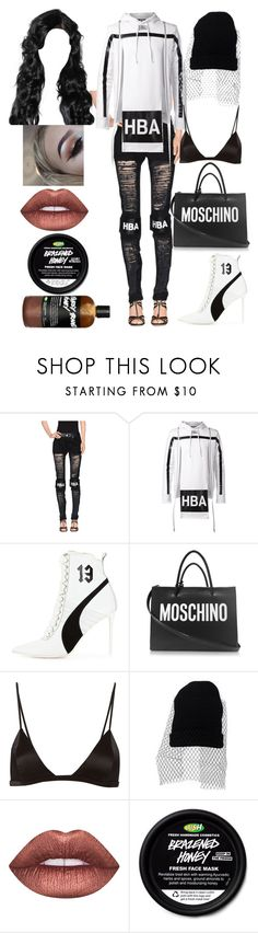 """""""Mexico Interviews: November 11"""" by allison-syko ❤ liked on Polyvore featuring Hood by Air, Puma, Moschino, Fleur du Mal and Lime Crime"""