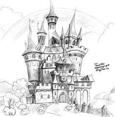 Как нарисовать замок карандашом