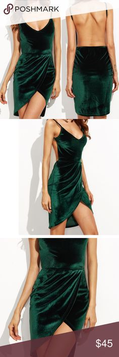 Open back green velvet dress Item#RWAHZ318760899 measurements see chart above. Great dress for the holidays! Dresses