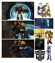 """Transformers Prime: Bumblebee and Arcee"" by diamonds610 ❤ liked on Polyvore featuring art"