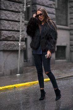 black faux fur + black denim