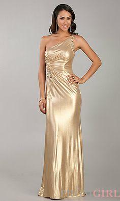 Floor Length Gold Sequin Dress at PromGirl.com