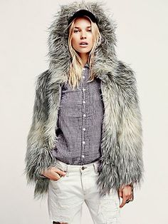 I (heart) faux fur! Faux Fur Hooded Coat by Free People.