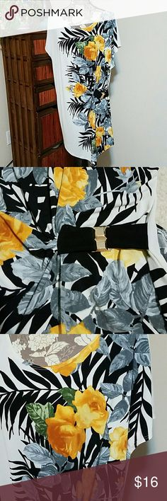 Plus 3X beautiful floral top Nice modern fit with a gold colored clasp that gathers the front to one side. It hangs longer in the front and would be PERFECT with a pair of leggings! Midnight Velvet Tops