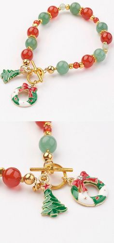 PandaHall Christmas Theme Natural Gemstone Bead Bracelets #pandahall #Chritmas #gemstone #bracelet #jewelry #festival #pendant