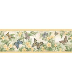 Butterfly Floral Border Wallpaper Border, Yellow