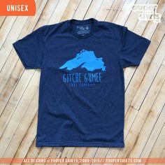 """Lake Superior/Gitche Gumee"" Heather Navy T-Shirt by Yooper Shirts (YS Branded)   Yooper Shirts"