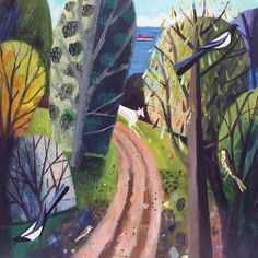 English Country Gardens, Watercolor Paintings, Painting Art, Dog Art, Paths, Abstract Trees, Art Gallery, Routes, Mary