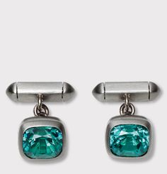 HEMMERLE JEWELRY - Cufflinks set in tourmalines - white gold - stainless steel.