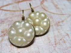 Cream Button Earrings Vintage Earrings Upcycled by ChatterBlossom, $10.00
