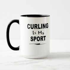 Curling is My Sport Mug - winter gifts style special unique gift ideas Hobbies That Make Money, Fun Hobbies, How To Make Money, Cool Coffee Cups, Coffee Mugs, Sand Toys, Couple Gifts, Favorite Color, Dinnerware