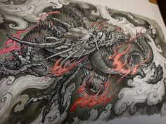 Dragon painting.  Prints available soon in studio!!  @chronicink @inkworkshops