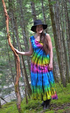 Tie Dye Surf Girl Maxi Goddess Dress  Hand Dyed by Wildflowerdyes, $62.00