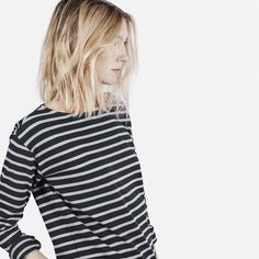 Women's Striped Heavyweight Tee - Grey / Black - Everlane