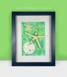 8x10 - Nautical blue shadow box frame.  Blue, green, and yellow woven hand painted paper background.  Ocean memories in a box.
