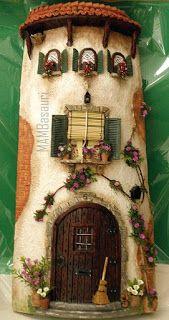 Risultati immagini per tejas decoradas Clay Fairy House, Gnome House, Fairy Garden Houses, Tile Crafts, Decor Crafts, Diy And Crafts, Clay Houses, Miniature Houses, Decoupage Jars