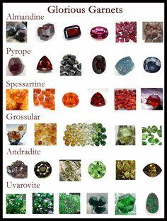 Almandine, pyrope, grossular, andradite, spessartine and uvarovite garnet... my birthstone.