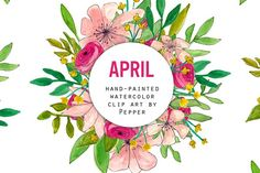 Pink Red Floral Watercolor Clipart by Pepper on @creativemarket