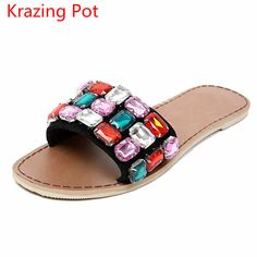 01e61ea2daf4 2017 Superstar Large Size Fashion Brand Summer Shoes Rhinestone Peep Toe  Women Slippers Crystal Beading Flats