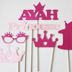 Lot de 6 accessoires photobooth anniversaire princesse - fuchsia et rose - personnalisé