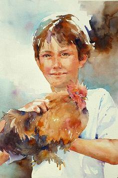 Mr. Feathers by Yvonne Joyner Watercolor ~ 28 in. x 22 in.