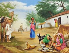 Village Scene - People Posters (Reprint on Paper - Unframed) Village Photos, Art Village, Indian Village, Scenary Paintings, Village Scene Drawing, Farmer Painting, Rajasthani Painting, Composition Drawing, Village Photography