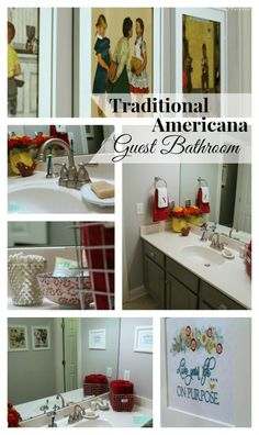 Traditional-Americana Guest Bathroom Makeover: painted walls, cabinets, new hardware and a punch of color!
