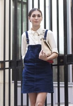 mini skirt with attached waistband and bib overall skirt