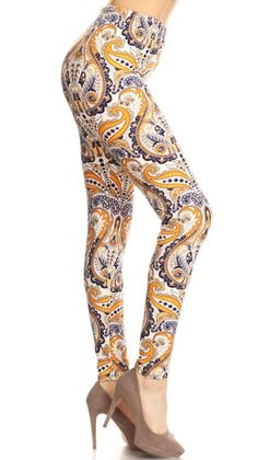 7543944861 Paisley High Waisted Leggings in Mustard Tight Leggings, Knit Leggings,  Long Tee, Leggings