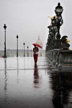 Paris in the rain.  Photographer Christoph Jacrot