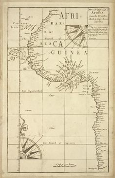 A draught of the coast of Africa from the streights mouth to Cape Bona Esprance From New York Public Library Digital Collections.