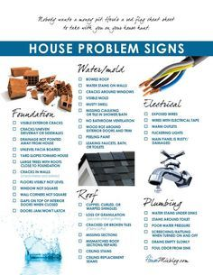 Problems to look for when buying a house checklist. Trust your Realtor to help point out potential issues and always get a home inspection!