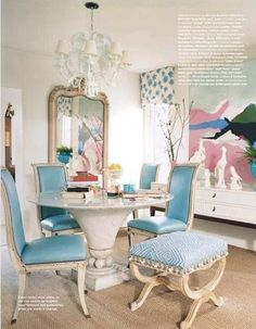Sophisticated pastel dining room, pale blue,  abstract, mix of styles