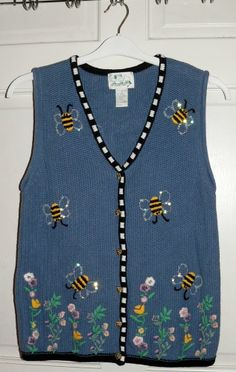 Quacker Factory Sequin Ble Bees Blue Cardigan Sweater Vest Size Small