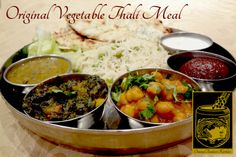 Original Vegetable Thali Meal with Dal, Raita, Rice Pulao, Aloe Parantha, and Gulab Jamun at Original Tandoori Kitchens Gulab Jamun, Best Butter, Indian Food Recipes, Ethnic Recipes, Butter Chicken, Aloe, Curry, Kitchens, Foods