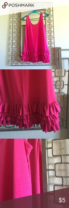 💖💖Bright Neon Pink Peplum tier tank top Small💖 💖Bright Neon 💖Pink peplum styled Ruffled 4 tier tank top in size Small. 4 layers of ruffles at hip-level hemline. Scoop neck in front & rear. Bundle to SAVE!!! 💝 Tops Tank Tops