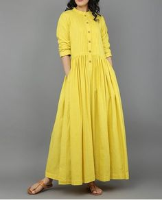 Dresses - Yellow Khadi Dress with Gathers Eerbare kleding Eng Modest clothing Fr Vêtement modeste Du Bescheidene Kleidung Sp ropa modesta Ru Скромная одежда Linen Dresses, Cotton Dresses, Casual Dresses, Casual Cotton Dress, Hijab Fashion, Boho Fashion, Fashion Dresses, Kurta Designs, Blouse Designs