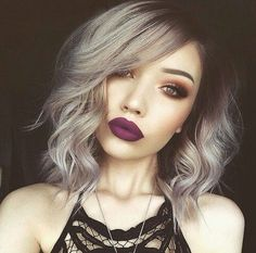 Love this look. Grey balayage short hair matched with smokey eye and plum full lipstick. Perfect for Autumn.