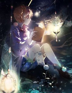 Boy reading in the lanterns glow. Lovely picture~! From Pixiv Id 3495536