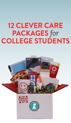 12 Clever Care Packages For College Students 12 Clever Care Packages for College Students. Care Packages For College Boys, Girl College Dorms, College Student Gifts, College Students, College Checklist, College Packing, College Survival, College Hacks, College Gift Baskets